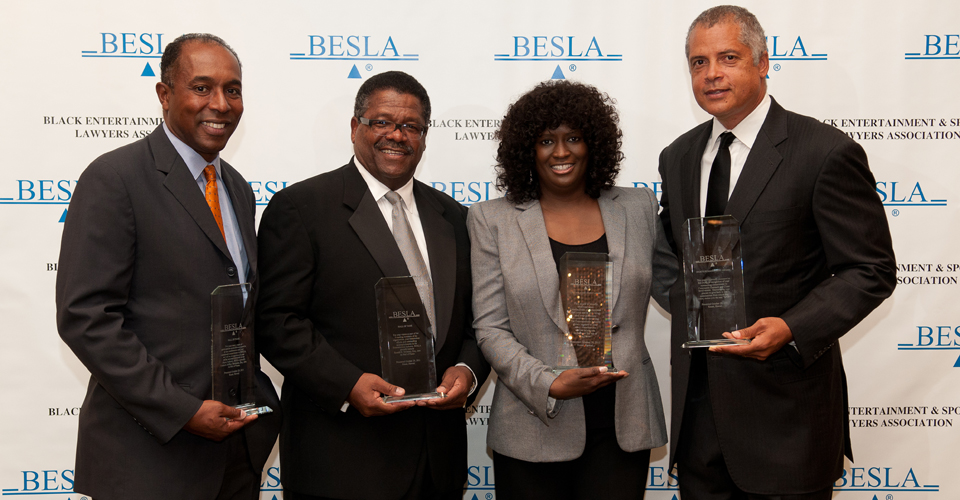 BESLA-Honorees-Jeff-Harleston-of-Universal-Music-Group-Ron-Sweeney-of-the-Law-Offices-of-Ron-Sweeney-Loretha-Jones-of-BET-and-Bill-Duffy-of-BDA-Sports