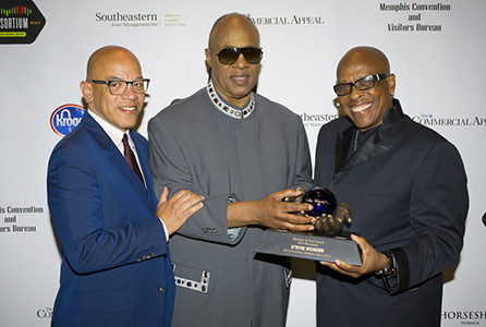 Rickey Minor, Stevie Wonder and David Porter at the first Annual Epitome of Soul Awards.
